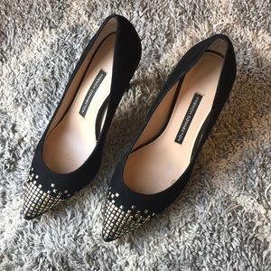 French Connection Elka black suede studded pumps